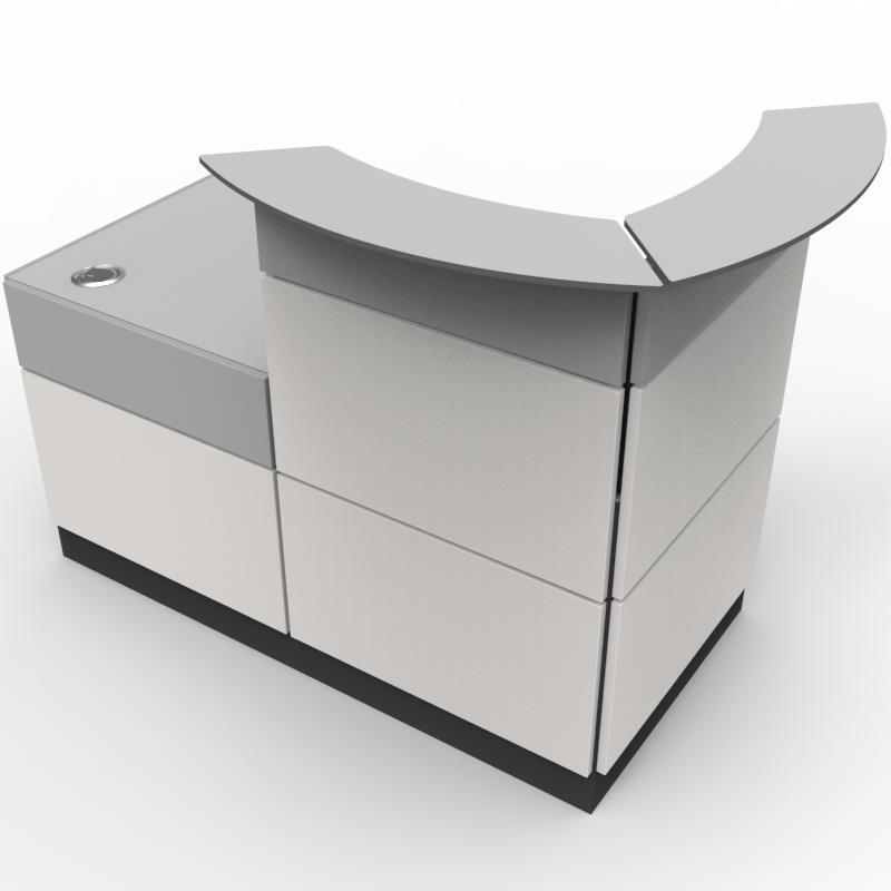 borne d 39 accueil pour entreprise au designe modern et chic coloris du bois au choix. Black Bedroom Furniture Sets. Home Design Ideas
