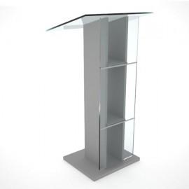 Pupitre plexiglas transparent et bois pour conférence gris disposant d'une tablette inclinée et de rangements pour chr