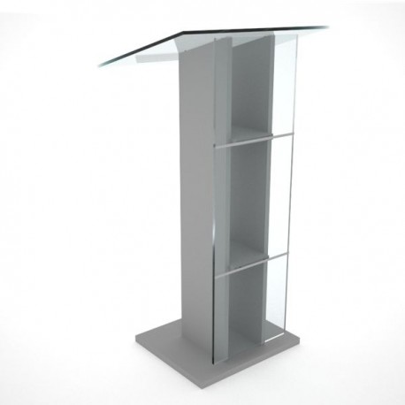 Pupitre plexiglas transparent et bois pour conférence et discours