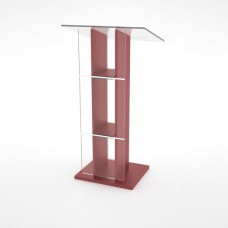 Pupitre de conférence bois et plexiglas rouge pour événement et réunion