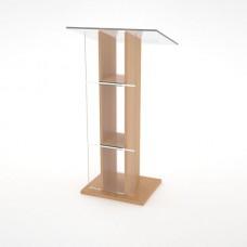 Pupitre de conférence bois et plexiglas hêtre pour discours et réunion