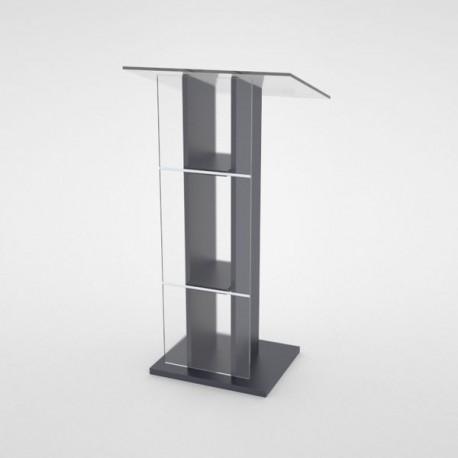 Pupitre orateur graphite en bois pour mairie / CHR / école - Livré Monté