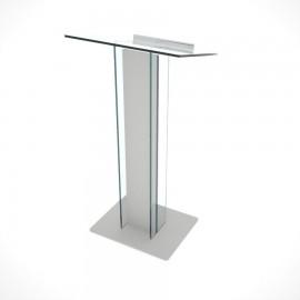 Pupitre de conférence plexiglas et bois en gris de fabrication française et de qualité professionnelle pour des meetings