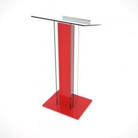 Pupitre de conférence plexiglas et bois rouge qui convient pour entreprises ou associations qui organisent des discours