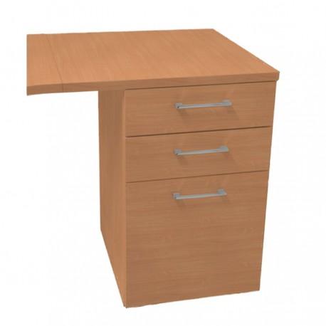 Caisson pour bureau en Bois et 3 tiroirs, meuble rangement d'entreprise