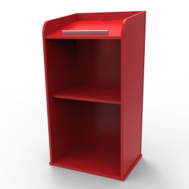 Pupitre de conférence bois rouge coloré avec rangements en accès libre et d'une tablette inclinée essentiel pour une réunion