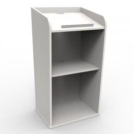 Pupitre de conférence bois de couleur blanc comportant des rangements avec des étagères fixes pour documents et notes