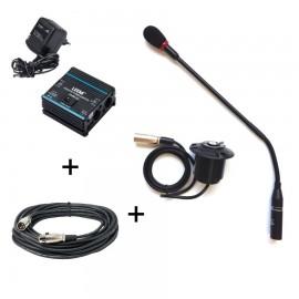 Pack d'accessoires pour conférences comprenant une alimentation fantôme et un micro col de cygne avec le cordon xlr