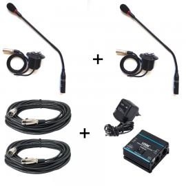 Pack luxe d'accessoires pour conférence doté de deux micros col de cygne / deux alimentations fantôme et deux cordons xlr