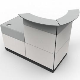 Borne d'accueil blanc convenant parfaitement pour des espaces d'accueil aux dimensions standards et restreintes en CHR