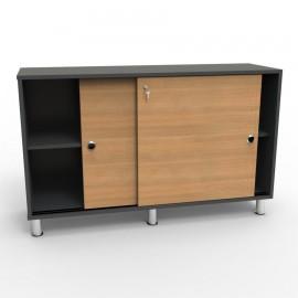 Armoire de rangement couleur chêne qui permet de ranger et classer des objets et documents dans votre bureau de mairie