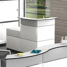 Borne d'accueil blanc brillant comptoir entreprise collectivité écoles magasins - mobilier chic et design gamme ONDULO