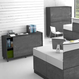 Armoire de rangement béton idéale pour des bureaux et espaces d'accueil ainsi que des salles de réunion et open space