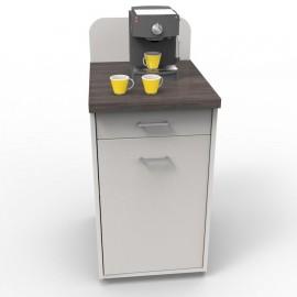 Meuble pour machine à café pour professionnels blanc-wengé pour des professionnels de CHR / resto / bar / cafétéria