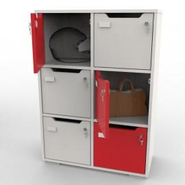 Meuble casier CASEO avec 6 cases coloris rouge qui sera coloré dans l'intérieur de vos bureaux en collectivité et association