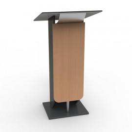 Pupitre de conférence bois de hêtre et métal inox, meuble pupitre très léger et facilement déplaçable au quotidien