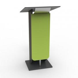 Pupitre de conférence couleur vert livré monté en entreprise avec tablette inclinée dotée d'un usinage pour les câbles