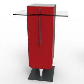 Meuble pour machine à cafe rouge design toute marque en bois, innox et verre