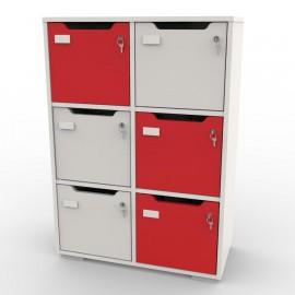 Meuble vestiaire avec 6 cases blanc et rouge pour rangement de documents et classeurs en bureau et salle réunion