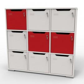 Meuble casier en bois CASEO à 9 cases blanc et rouge qui est assez grand pour salles de fitness et salles de conférence