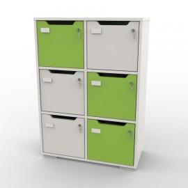 Casier de rangement 6 cases blanc et vert