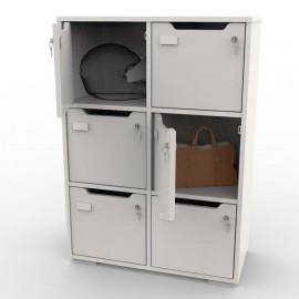 Vestiaire Bois CASEO blanc avec 6 cases pour vestiaires collectifs et salles de casiers dans salles de fitness ou entreprises