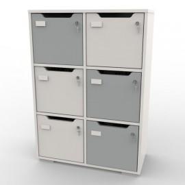 Meuble de rangement avec 6 cases gris et blanc qui convient à toutes les structures d'entreprises et collectivités / chr