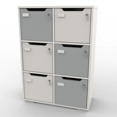 Meuble de rangement avec 6 cases gris CASEO, Vestiaire Bois pour Entreprise