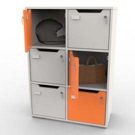 Vestiaire collectif avec casiers blanc et orange CASEO 6 cases destiné à du rangement, stockage et archivage d'entreprise