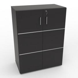 Meuble avec serrure pour rangement noir avec étagères amovibles pour du classement et de l'archivage en entreprise