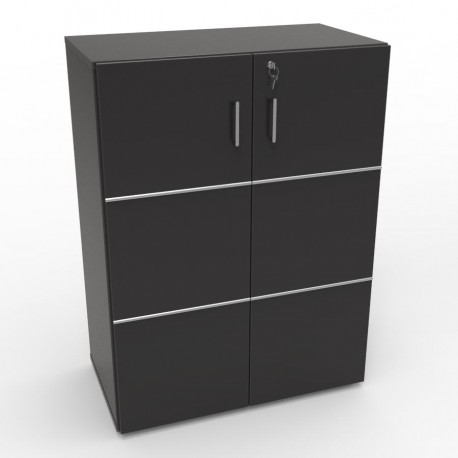 Meuble de rangement bureau avec serrure en bois et for Meuble bureau avec rangement