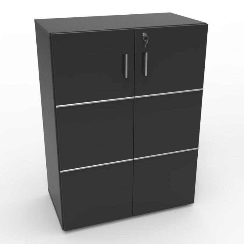 Meuble de rangement bureau avec serrure en bois et for Meuble bureau avec etagere