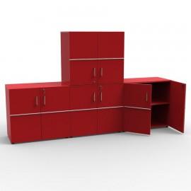 Meuble de rangement juxtaposable et empilable avec serrure en bois pour créer des espaces de rangement dans un bureau
