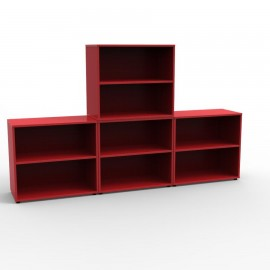 Meuble rangement bureau coloré en rouge qui apporte de la vitalité dans votre bureau d'entreprise ou espace d'accueil