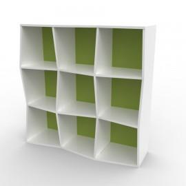 Etagere murale bois blanc et vert possédant de nombreux rangements pour du classement et de l'archivage dans des bureaux