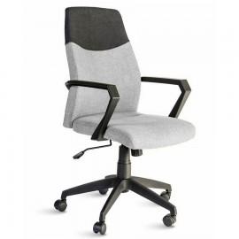 Fauteuil de bureau gris avec un dossier bicolore et une assise confortable apportant une touche de décoration scandinave