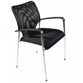 Chaise bureau noir comportant un dossier en maille et deux accoudoirs incurvés au confort optimal pour clients / salariés