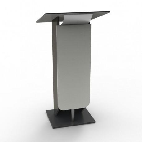 Pupitre discours bois gris avec plateau inox et verre - Livré monté