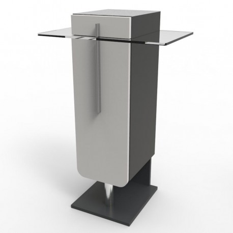 Meuble machine à café Gris design pour modèles expresso, capsules, dosette ou cafetières