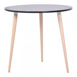 Table scandinave design ronde bois coin cuisine noir