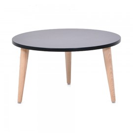 Table basse design scandinave ronde bois noir