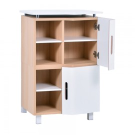 Meuble machine à café et à thé design DUO blanc bois clair