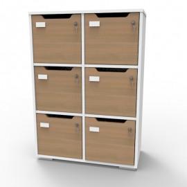Meuble casier CASEO avec 6 cases en chêne entièrement en bois made in France de qualité professionnelle et livré monté