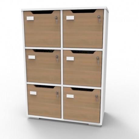 Meuble casier blanc CASEO bois 6 cases | Livré Monté et conçu en France