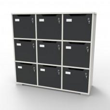 Meuble casier en bois CASEO à 9 cases blanc-graphite doté de rangements fermés par des serrures à clé pour du rangement