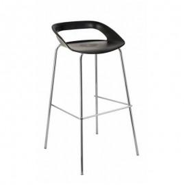 Chaise de bar haute noir pour cuisine ou salle de pause, chaise haute avec repose-pied pour collectivités et associations