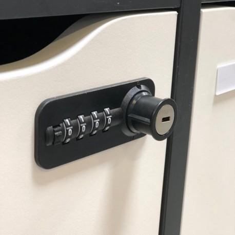 Serrure permanente à code et à clé pour vestiaire et casier CASEO 4 cases