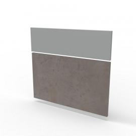 Façade basse de bureau en bois en coloris béton qui vous permet de changer de façades sur bureau bois / comptoir accueil