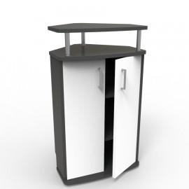 Meuble d'angle pour machine à café blanc qui convient à toutes les entreprises et collectivités qui possèdent un espace café