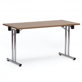 Table d appoint pliante et empilable en longueur 160 cm permettant d'ajouter des espaces de bureaux en accueil